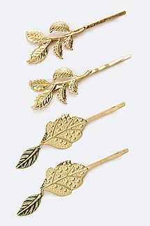 Mix Metal Leaf Bobby Pins Set