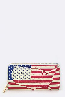 US Map & Flag Print Wallet