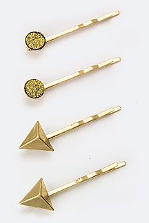Pyramid & Druzy Bobby Pins Set