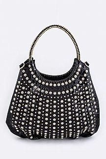 Crystal Studs Croc Embossed Statement Tote