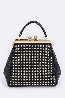 Crystal Studded Double Pocket Hand Bag