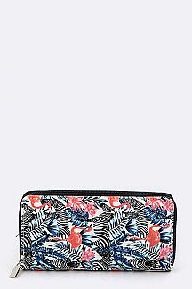 Zebra & Flamingo Print Wallet