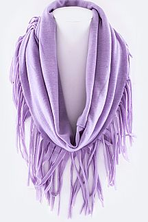 Jersey Knit Fringed Edge Fashion Infinity Scarf
