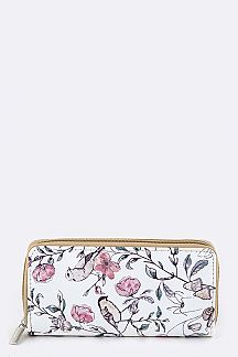 Birds & Flower Print Wallet