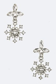 Crystal Snowflake Dangling Earrings