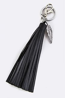 Feather Charm & Leather Tassel Key Charm