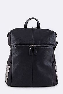 Grain Leather & Nylon & Honeycomb Studs Backpack