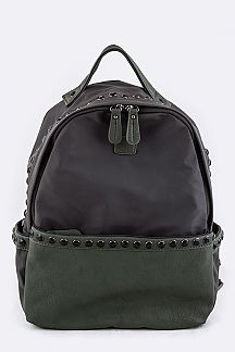 Crystal Studded Grain Leather & Nylon Backpack