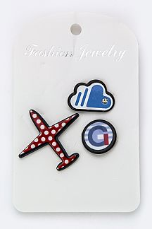 Airplane & Cloud Pins Set