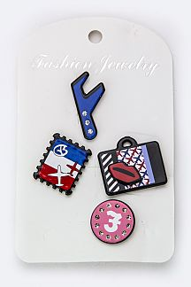 Mix Stamp & Luggage Pins Set