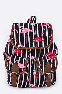 Flamingo on Stripe Backpack