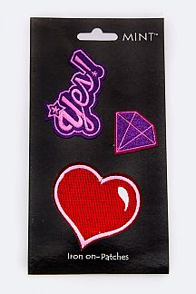 Heart & Diamond Iron-On Patches Set