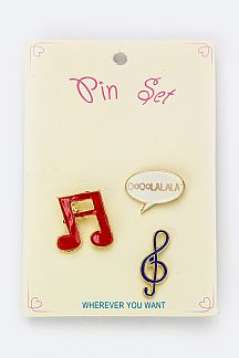 Mix Music Note Pins Set