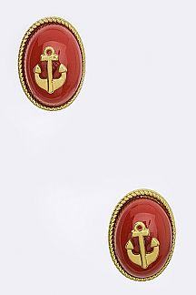 Enamel Anchor Oval Button Studs