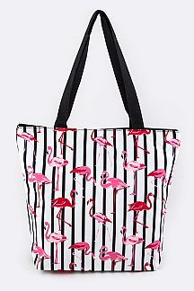 Flamingo on Stripe Fashion Tote
