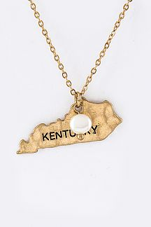Kentucky Map Pendant Necklace Set