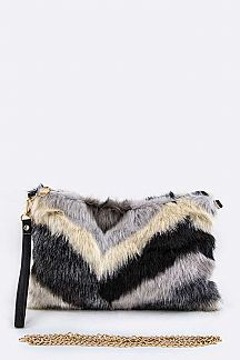 Chevron Fur Convertible Clutch Bag