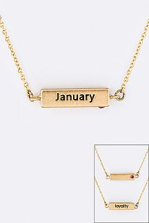 January Birth Stone Pendant Necklace