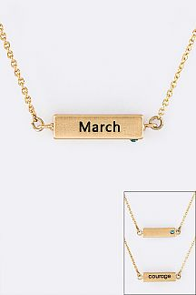 March Birth Stone Pendant Necklace