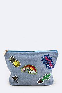 Mix Patches Denim Pouch