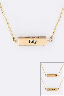 July Birth Stone Pendant Necklace