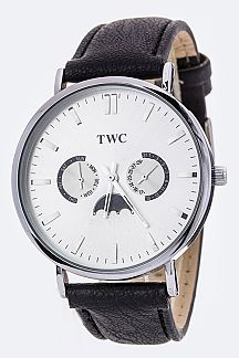 TWC Leather Strap Annual Calendar Fashion Chrono Watch