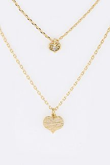 Double Heart Layered Pendant Necklace