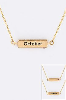 October Birth Stone Pendant Necklace