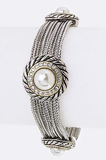 Pearl & Crystals Disks Layer Bracelet