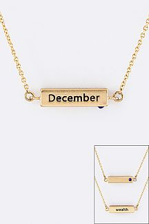 December Birth Stone Pendant Necklace