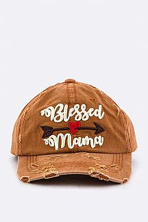Blessed Mama Embroidery Cotton Cap