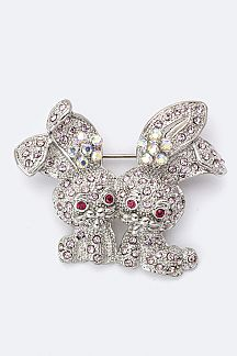 Twin Crystal Bunnies Brooch