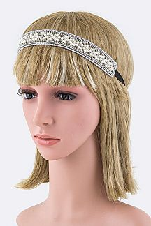 Pearl & Crystal Flower Stretch Headband