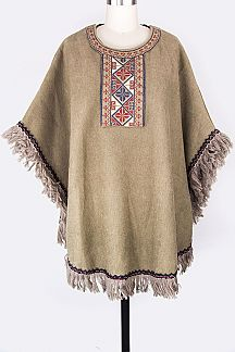 Embroidered Wool Blend Fringe Poncho
