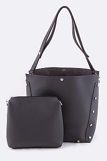 Convertible Studded Tote & Mini Pouch