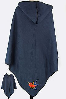 Bird Embroidered Fleeced Hooded Cape