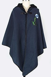 Flower Embroidered Fleeced Hooded Cape