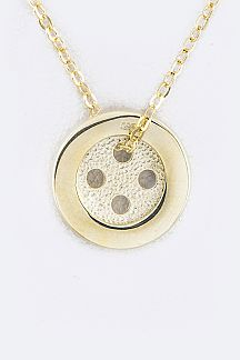 Sterling Silver Button Pendant Necklace