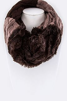 Faux Fur Mix Knit Twisted Infinity Scarf