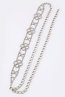 Flower Rhinestone Fashion Chain Belt