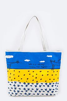 Comic Cat Printed Fashion Canvas Tote