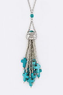 Turquoise Cross Tassel Long Pendant Necklace Set