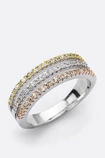 3 Tone CZ Layer Ring