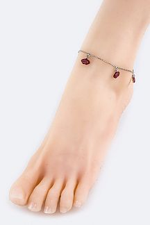 Lips Charm Ball Chain Anklet