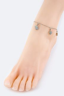 Crystal Roses Ball Chain Anklet