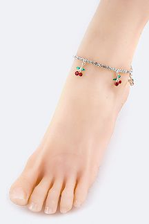Crystal Cherry Stretch Rhinestone Anklet