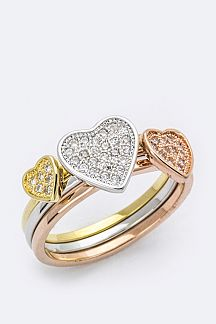 3 Tone CZ Heart Triple Ring