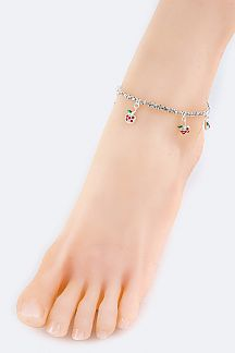Crystal Apple Stretch Rhinestone Anklet