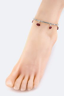 Petite Lips Drop Crystal Stretch Anklet