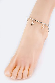 Crystal Cocktail Glass Stretch Anklet
